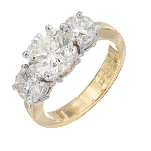 Peter Suchy 2.18 Carat Diamond Yellow Gold Platinum Three Stone Engagement Ring