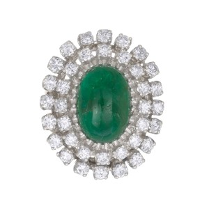 GIA Certified 3.00 Carat Emerald Diamond White Gold Midcentury Cocktail Ring