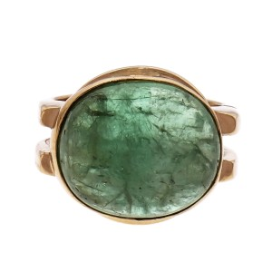 Emerald 14.85ct Cabochon 14k Yellow Gold Cocktail Ring