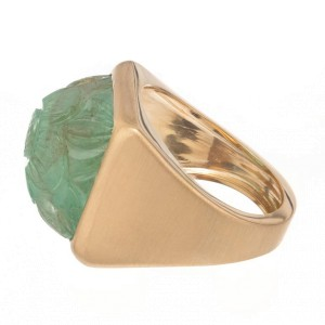Peter Suchy GIA Certified 15.92 Carat Carved Emerald Gold Ring