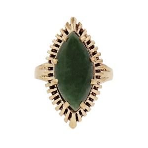 Marquise Cabochon Jadeite Jade Ring