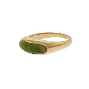 Jadeite Jade Natural Saddle Ring 14k Gold GIA Certified