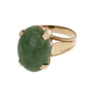Vintage 1960 Jadeite Jade Ring 18k Yellow Gold GIA Certified Dyed