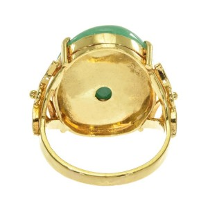 GIA Certified Natural Jadeite Jade Yellow Gold Cocktail Ring