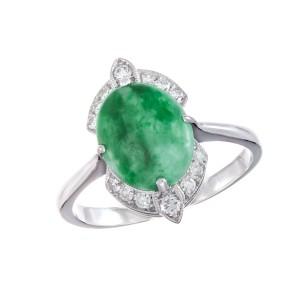 GIA Certified Jadeite Jade Diamond White Gold Ring