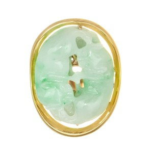 Large Jadeite Jade Yellow Gold Carved Cat Ring