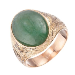 GIA Certified Oval Jadeite Jade Rose Gold Unisex Ring