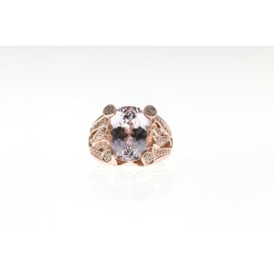 Sonia B Vintage 14K Rose Gold with 8.0ct Purplish Pink Kunzite & 0.65ct Diamond Ring Size 8