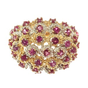 Midcentury 1.70 Carat Ruby Yellow White Gold Dome Cocktail Ring