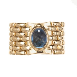 2.40ct Oval Cabochon Sapphire Yellow Gold Mesh Ring