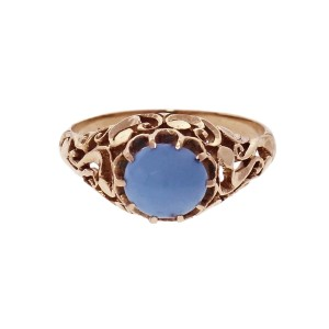 Vintage Oval Turquoise 14k Ring GIA Certified Yellow Gold