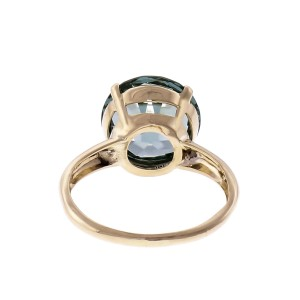 6.86ct Blue Zircon 14k Yellow Gold Solitaire Ring