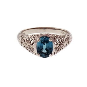 Filigree Platinum Blue Zircon Ring