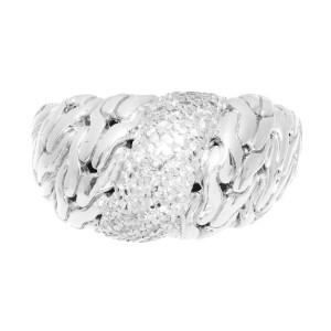 John Hardy Diamond Silver Dome Ring 925 18k