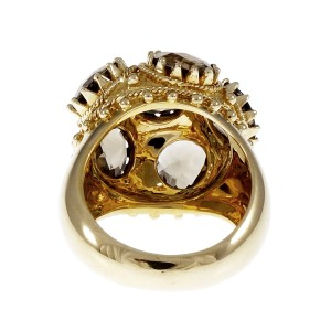 18K Yellow Gold with 10.80ct. Quartz Cocktail Ring Size 6.75