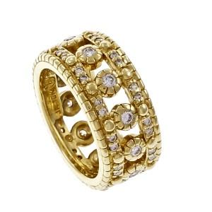 Judith Ripka 18K Yellow Gold with Diamond Wedding Eternity Ring Size 4.5