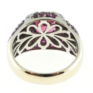 Sonia B Vintage 18K White Gold with 1.75ct Pink Tourmaline & 0.25ct Diamond Ring Size 7.75