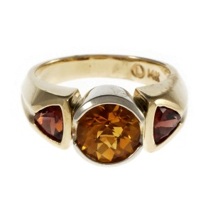14K Yellow and White Gold Citrine Garnet Ring Size 8