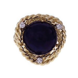 Cellino Mid-Century Lapis Cocktail Ring 18k Yellow Gold Diamond