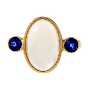 Peter Suchy 14K Yellow Gold with 5.25ct Blue Moonstone and 0.62ct Blue Sapphire Ring Size 6.5