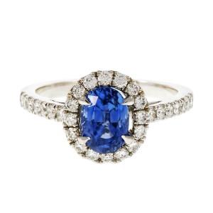 18K White Gold Oval Sapphire Diamond Halo Ring Size 6.5