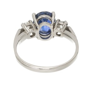 Peter Suchy Platinum with 2.19ct. Sapphire and 0.48ct. Diamond Ring Size 6