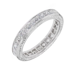 Peter Suchy Platinum 2.21ctw French Cut Diamond Eternity Band Ring Size 6.25