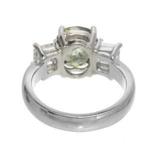 Platinum 3.05ct Yellow Green Sapphire & Diamond Engagement Ring Size 5.5