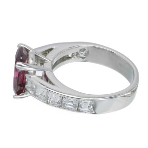 Platinum with Ruby & Diamond Engagement Ring Size 7