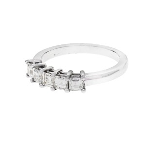 Peter Suchy Square Step Cut Band .73ct Platinum Ring 5 Diamond Common Prong