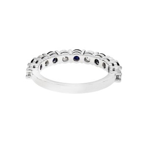 Peter Suchy Sapphire .65ct Diamond Half Way Common Prong Ring Platinum