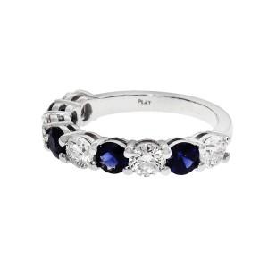 Peter Suchy Sapphire 1.00ct Diamond Half Way Common Prong Ring Platinum
