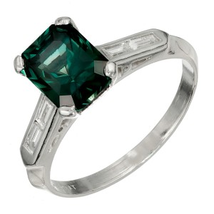 Peter Suchy GIA Certified 3.15 Carat Green Sapphire Diamond Platinum Ring