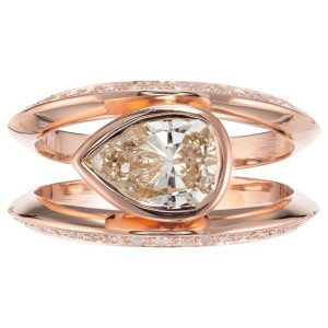Peter Suchy 1.02 Carat Light Brown Pear Diamond Rose Gold Engagement Ring