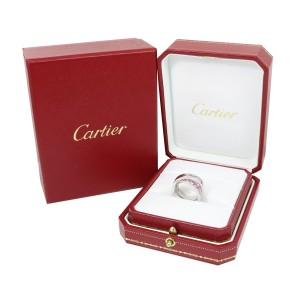 Cartier Paris 18K White Gold and Pink Sapphire Ring Size 5.5