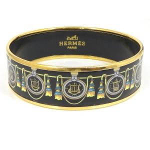Hermes Cloisonne Gold Tone Hardware & Enamel Bangle Bracelet