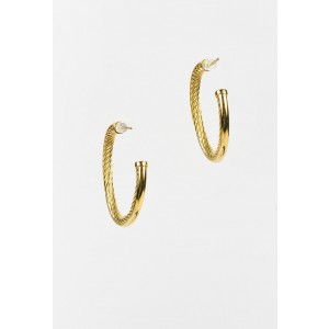 "David Yurman 18K Yellow Gold ""Crossover"" Hoop Earrings"