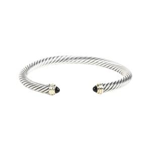 David Yurman Cable 14K Yellow Gold, Sterling Silver Onyx Bracelet