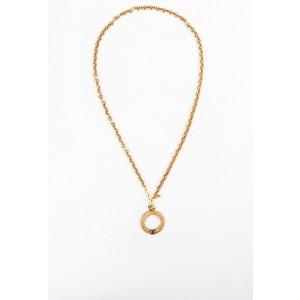 Chanel CC Gold Tone Glass Pendant Necklace