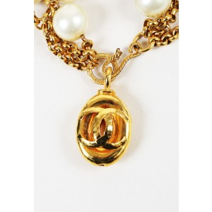 Chanel Gold Tone Hardware with Simulated Glass Pearl 'CC' Bracelet