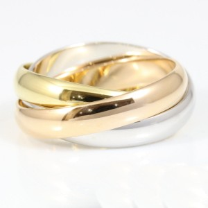 Cartier 18K White Gold, 18K Rose Gold, 18K Yellow Gold Ring Size 5