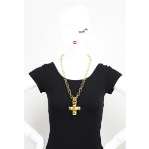 Chanel Gold Tone Ribbon Cross Pendant Chain Necklace