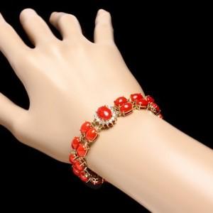 14K Yellow Gold Diamond & Coral Reef Bracelet