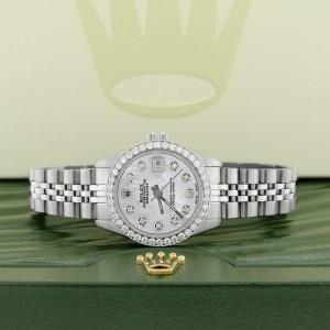 Rolex Datejust Ladies 26MM Automatic Steel Watch w/White MOP Dial & Diamond Bezel