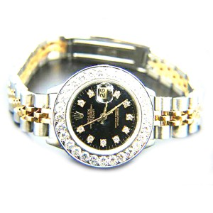 Rolex Datejust Diamond Black Dial 18K Yellow Gold & Stainless Steel 26mm Watch