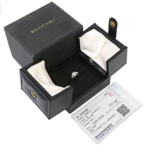 Bvlgari 0.422ct Solitaire Diamond Ring Platinum 950 US4.75 w/Box,Cert