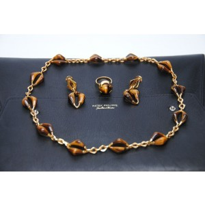 Patek Philippe Tigers Eye 18K Yellow Gold Jewelry Set