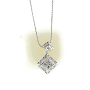 Charriol 18K White Gold Flamme Blanche Diamond Pendant Necklace