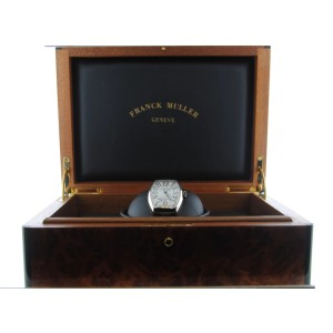 Franck Muller 5850 SC Platinum Rotor 18K White Gold & Leather Automatic 32mm Mens Watch