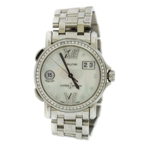 Ulysse Nardin 223-28B/391 Stainless Steel wDiamond Mother Of Pearl Dial 37mm Womens Watch